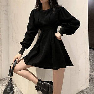 QWEEK Black Mini Dress 2021 Spring Fashion Korean Style Gothic Goth Wrap Long Sleeve Pleated Dress Casual Wrap Streetwear Women