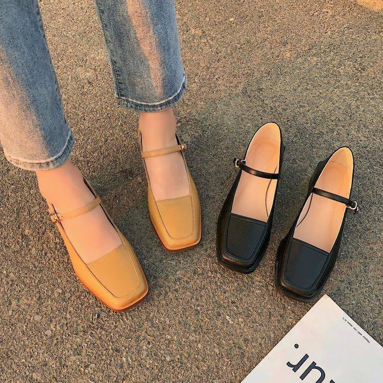 Women Spring Summer Leather Pumps Square Toe Marry Jeans Shoes Med Square Heel Buckle Leather Shoes Shallow Sandals 5 cm |  | akolzol