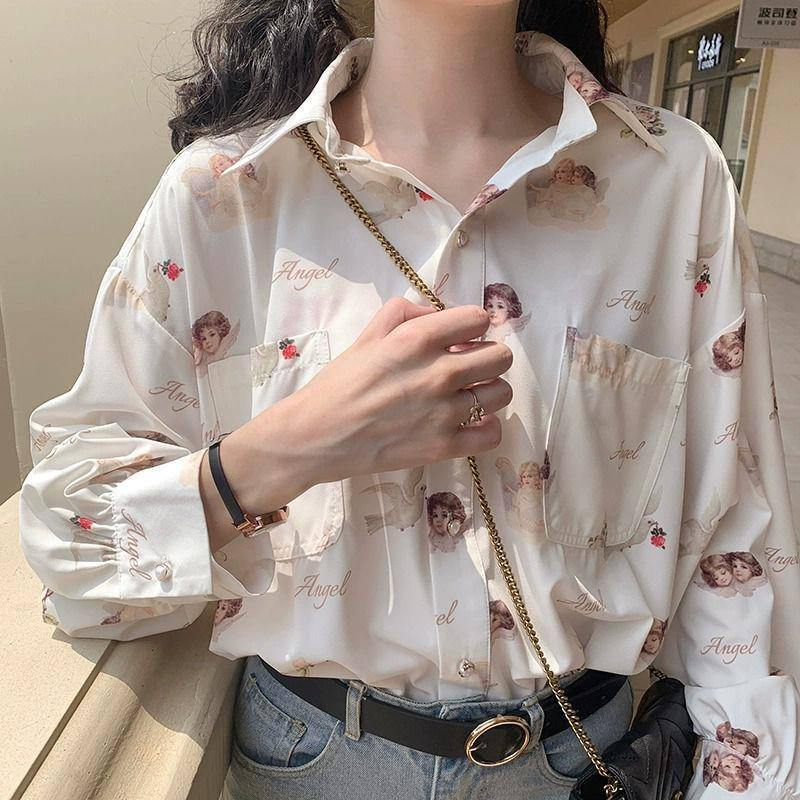 Deeptown Harajuku Angel Print Womens Shirt Vintage Elegant Blouse Women Autumn 2020 Lantern Sleeve Female Clothes Loose BF Shirt | akolzol