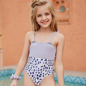 GOZZY New Arrival Swimwear Girl One Piece Bikinis Teens Solid Summer Bathing Suits Children Purple Spot Swimsuit for 5~12 Years |  | akolzol