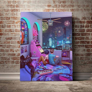 Retro Night Synthwave poster Canvas Wall Art Decoration prints for living Kid Children room Home bedroom decor Painting |  | akolzol