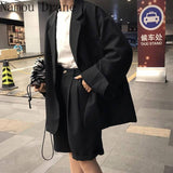 2021 Vintage Fashion 2 Piece Outfits Women Solid Casual Blazers High Waist Suit  Short Pants Lady Sets Streetwear | akolzol