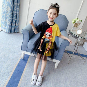 Girls fashion dresses 2021 children clothes loose short sleeve Girl print mesh patchwork dress summer clothes 3 4 5 6 7 9 10 12Y |  | akolzol
