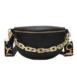 Luxury Women's Fanny Pack High Quality Waist Bag Thick Chain Shoulder Crossbody Chest Bag Female Belt Bag Designer Brand Handbag