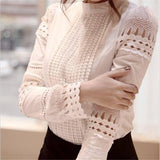 2021 Summer New Women Blouses Slim Bottoming Long-sleeved White Shirt Lace Hook Flower Hollow Casual Shirts Blouse Plus Size 5xl | akolzol
