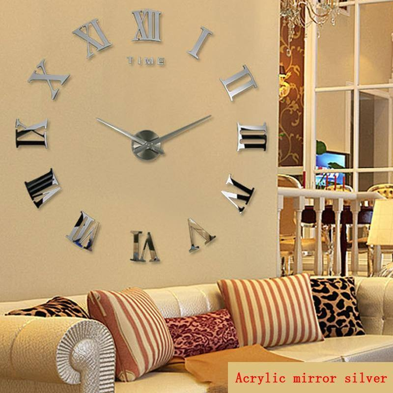 Diy Wall Cock Promotion New Home Decor Large Roman Mirror Fashion  Modern Quartz Clocks Living Room  Sticker Watch | akolzol
