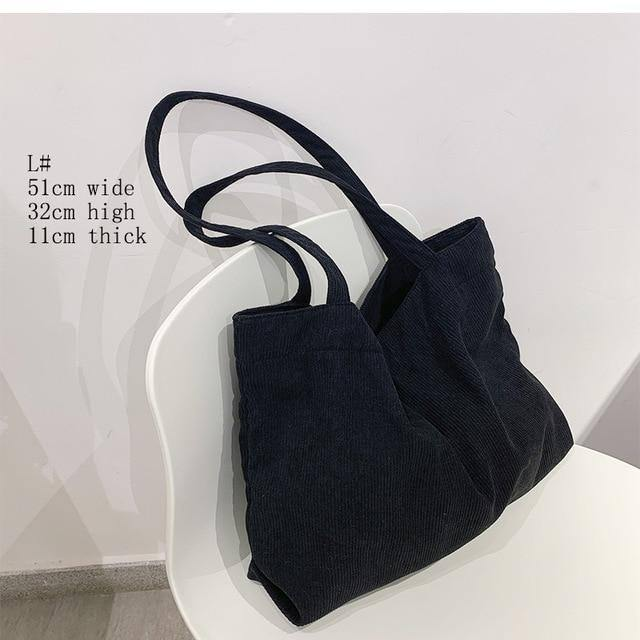 Canvas Corduroy Shoppers Shoulder Tote Bags for Women 2021 Girls Purses Handbags Female Casual Wallets Large Capacity Schoolbags | akolzol