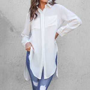 11 Colors Celmia Elegant Long Sleeve White Shirt Women Shirts Office Ladies Work Wear Turn Down Collar Women's Tops Blusas Femme | akolzol