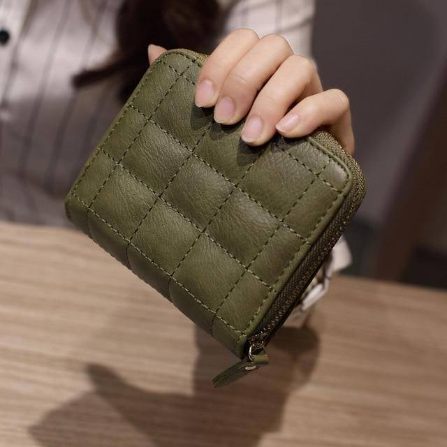 Women Short Wallets PU Leather Female Plaid Purses Nubuck Card Holder Wallet Fashion Woman Small Zipper Wallet With Coin Purse | akolzol