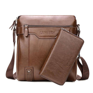 2 In 1 Heren Crossbody Schoudertassen Met Tote Fashion Business Messenger Bag Grote Split Lederen Tassen tas Voor Mannen | akolzol