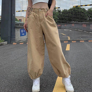 Autumn Adjustable High Waist Cargo Pants Women Oversize Drawstring Joggers Streetwear Khaki 90s Baggy Pants Cotton Broeken Dames |  | akolzol
