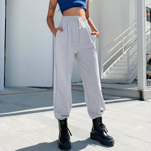 Loose Casual Lace Up White Sweatpants Women Baggy Y2k Trousers Elastic High Waist Basic Joggers Black Cargo Pants Broeken Dames |  | akolzol
