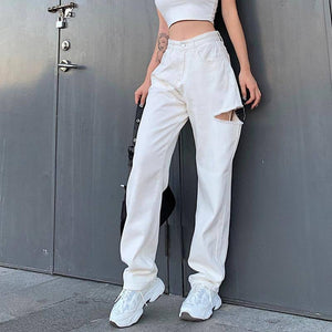 Hollow Out Ripped White Pants Autumn High Waist Baggy Jeans Womens 90s Zipper Cargo Denim Pants Loose Joggers Broeken Dames |  | akolzol