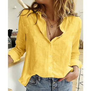Leisure White Yellow Shirts Button Lapel Cardigan Top Lady Loose Long Sleeve Oversized Shirt Womens Blouses Spring Blusas Mujer | akolzol