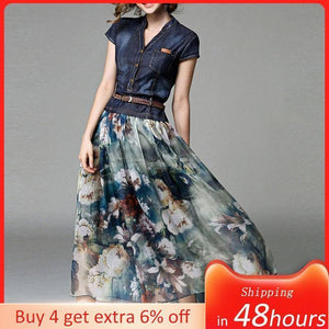 2021 Denim Dress Long Women's Casual Chiffon Patchwork Floral Print Summer New Female Maxi Dresses With Belt Japan Fashion Style |  | akolzol