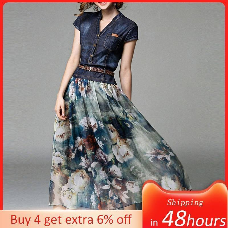 2021 Denim Dress Long Women's Casual Chiffon Patchwork Floral Print Summer New Female Maxi Dresses With Belt Japan Fashion Style | akolzol