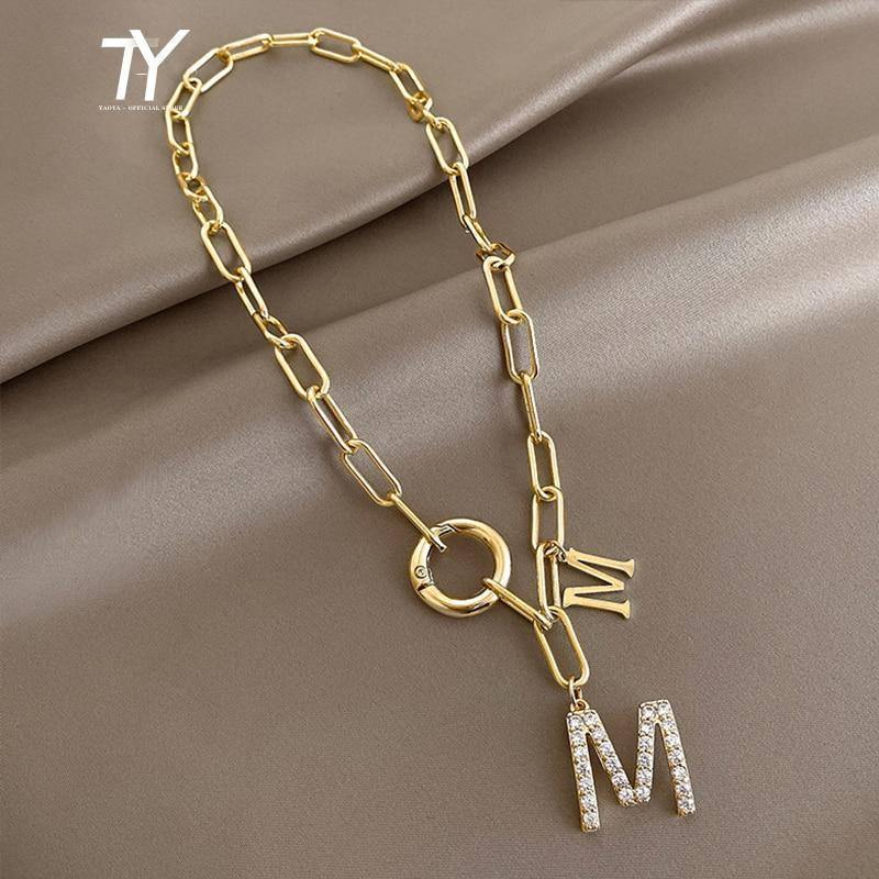 2021 Punk Style Hip Hop Thick Chain Short Necklace For Woman M Letter Pendant Neck Chain Korean Fashion Jewelry Sweater Chain | akolzol