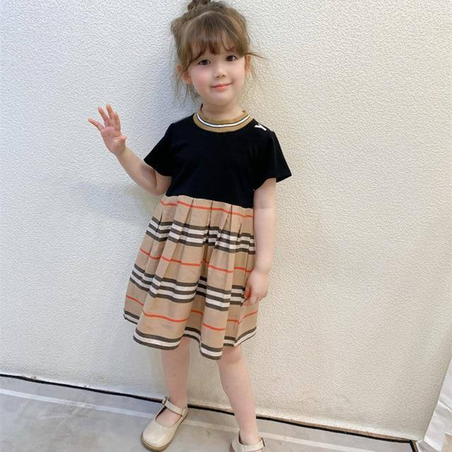 New arrival 2021 Summer fashion kids girls clothes dress brand Striped style cotton Ruched Patchwork baby girl princess dress | akolzol
