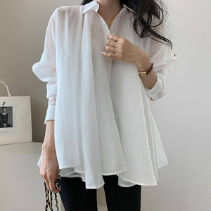 Korean Style Summer Short Sleeve Chiffon Blouse Simple Polka Dots Chic Casual Shirt Oversize Fashion Office Lady Work Tops