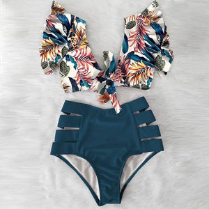 High Waist Ruffled Sexy Bikini Set 2020 Flounce Biquini Swimwear Women Two Pieces Swimsuit Floral Beachwear V-Neck Bathing Suit