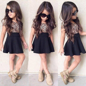 Leopard 2021 Summer New Fashion Baby Girls Kid Short Sleeve T-shirt Patchwork Girls Dress Short Dresses Princess TUTU Dress 1-6Y