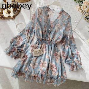 2021 new fashion women's French dress female temperament V-neck long-sleeved chiffon floral dresses |  | akolzol