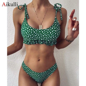 Tie dye sexy bikini set Floral printed micro bikini 2020 Push up swimwear Retro women's swimsuit female Bathing suit 2PC