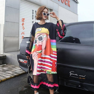 New 2021 Fashion Spring Summer Dress Chic Cartoon Printed Oversized Loose Dresses Sexy Mesh Ruffles Patchwork Sundress |  | akolzol