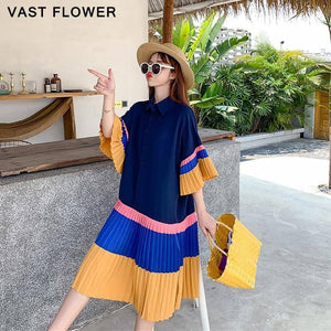 Pleated Hit Color Summer Shirt Dress Women Korean Style Plus Size Short Sleeve Loose Casual Dresses Fashion Elegant Clothes 2021 |  | akolzol