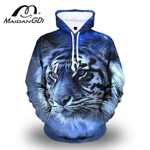 Maidangdi 2021 Men's Animal Hoodie Winter Outdoor Indoor Pullover Fashion 3D Digital Printing Lion Male Sweatshirt Big Size 7XL