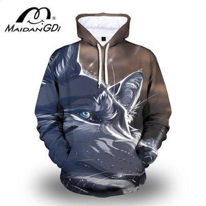 Maidangdi 2021 Men's Animal Hoodie Winter Outdoor Indoor Pullover Fashion 3D Digital Printing Lion Male Sweatshirt Big Size 7XL | akolzol