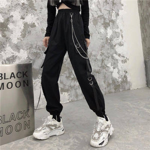 QWEEK Punk Cargo Pants Women Joggers Hippie Chain Pockets Plus Size Loose Black Capris Baggy Harajuku Oversize Trousers Hip Hop