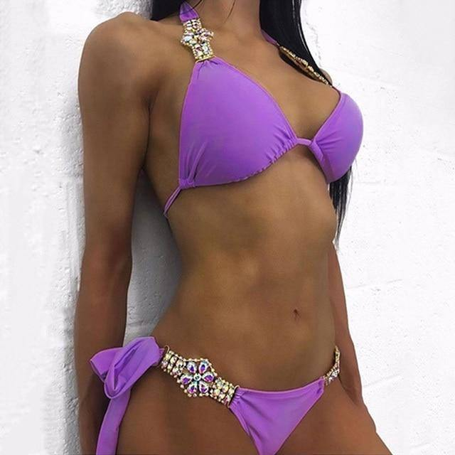 2021 Rhinestone Swimsuit Women Bikinis Crystal Diamond Bikini Set Metal Chain Swimwear female Luxury Aristocratic Swimming Suit | akolzol