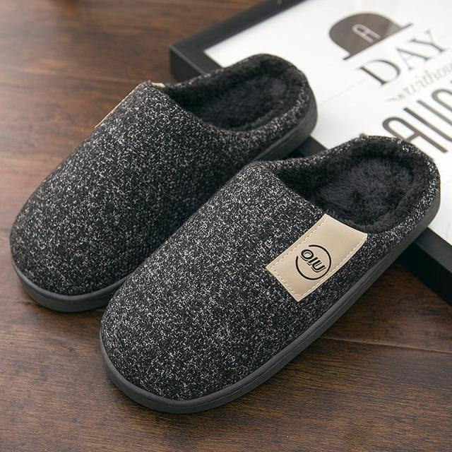 Men Winter Warm Slippers Fur Slippers Men Boys Plush Slipper Cotton Shoes Non-slip Solid Color Home Indoor Casual Slippers | akolzol