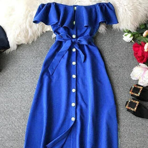 2020 New Summer Slash Neck Lace Up Dress Women Front Placket Single Breasted Ruffles Solid Knee-length Dress