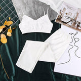 Suphis Spaghetti Strap Fox Pajamas Print Summer Two Piece Set Top And Pants Sleepwear Satin Women V Neck Sexy Nightwear Pattern | akolzol