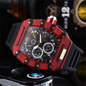Luxury Watches  Men Watch Silicone Strap Male Good Quality Watch Red  6-pin Running Seconds Water Resistant Reloj Hombre