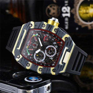 Luxury Watches  Men Watch Silicone Strap Male Good Quality Watch Red  6-pin Running Seconds Water Resistant Reloj Hombre | akolzol