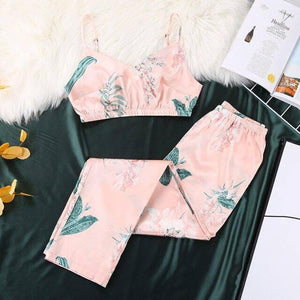 HECHAN Fox Pattern Pajamas Women V Neck Spaghetti Strap Print Pants Satin Sleepwear Set Sexy Nightwear Autumn Home Suit Sets | akolzol