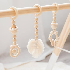 Let's Make 1 Set Baby Gym Wood Crochet Star Bell Unicorn Beech Wood Teething Toys Play Gym Set Baby Shower Gift Toys For Newborn