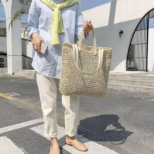 Designer Large Capacity Straw Bags for Women 2021 Wicker Woven Rattan Bag Handbag Tote Shoulder Bags Bali Beach Women Bag Purse | akolzol