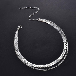 Fashion Women Lady Elegant V Sequins Chain Necklace Bib Party Double Layer Necklace Jewelry Choker Necklace