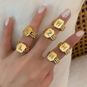 2021 Trendy Hiphop Adjustable 18k Gold Plated AAA Zircon A-Z Letter Ring Watchband Square Statement Gold Initial Rings For Women | akolzol