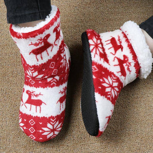Winter Floor Shoes Woman Hoouse Slippers Christmas Elk Indoor Socks Shoes Warm Fur Contton Slipper Plush Insole Anti-Skid Sole