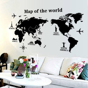 Black International world map DIY Vinyl Wall Stickers Kids love Home Decor office Art Decals creative 3D Wallpaper decoration |  | akolzol