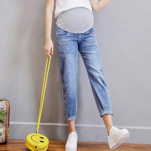 Vintgae Washed Denim Maternity Jeans for Pregnant Women Clothes Elastic Waist Belly Loose Pants Pregnancy Gravidas Clothing 2021 |  | akolzol