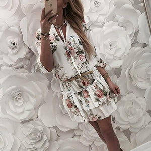 Vintage Women's Wrap Summer V-Neck Boho Floral Print Dress Elegant Ladies Holiday Beach Mini Sundress Plus Size | akolzol