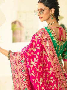 Beautiful Ruby Pink Zari Woven Designer Banarasi Saree