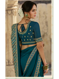 Designer Saree (Akshara) Crape Chiffon With Embroidery Border