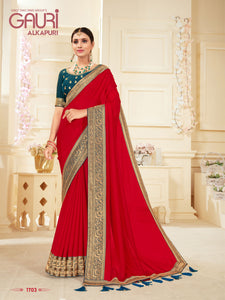 Designer Saree (Anupama) Malai Crape With Embroidery Border